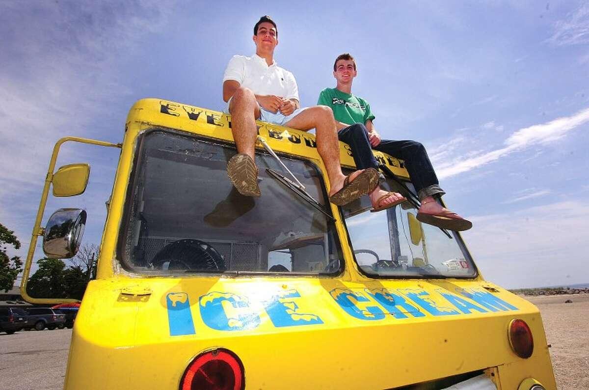 Hour Photo/ Alex von Kleydorff. l-r Jon Camche and Rick Snyder owners of I Scream Ice Cream truck in Westport