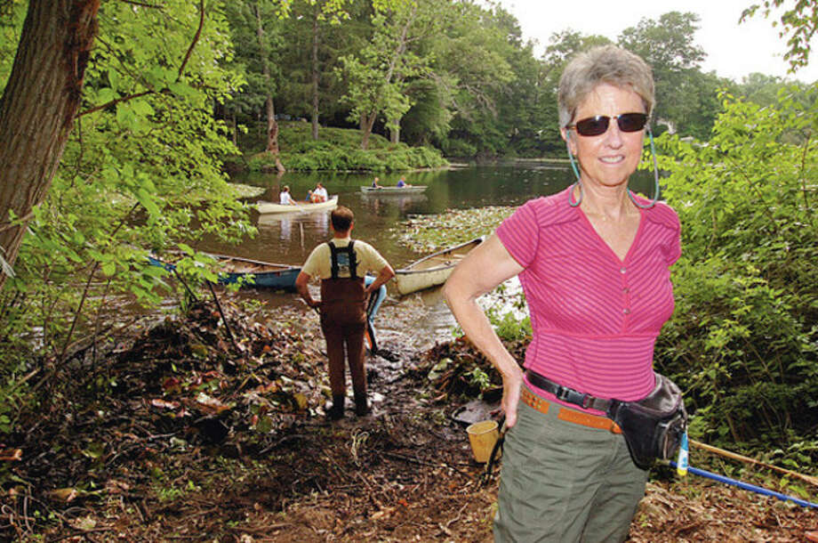 Volunteers clear lily pads out of Horseshoe Pond by hand as part of Operation Lily Pad organized by Wiklton resident Anne Deware Saturday.Hour photo / Erik Trautmann / (C)2012, The Hour Newspapers, all rights reserved