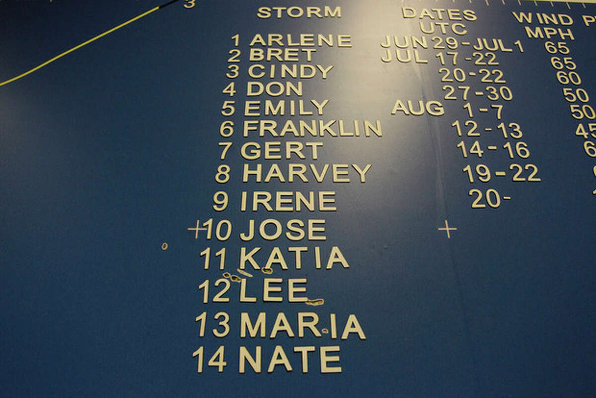 A list of hurricane names, including Irene, are displayed on a wall map at the National Hurricane Center in Miami Hurricane Center in Miami, Wednesday, Aug. 24, 2011. Irene strengthened to a major Category 3 storm over the Bahamas on Wednesday with the East Coast in its sights. Irene's maximum sustained winds increased to near 115 mph (185 kph) with additional strengthening forecast, the U.S. National Hurricane Center in Miami said. (AP Photo/J Pat Carter)