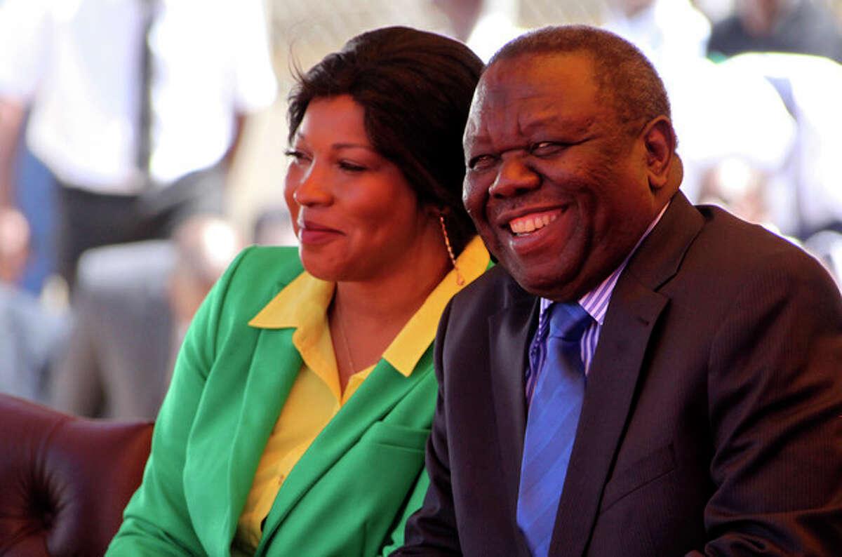 Zimbabwean Prime Minister Morgan Tsvangirai, right, and his wife Grace attend Zimbabwe's 33rd independence celebrations in Harare, Thursday, April 18, 2013. (AP Photo/Tsvangirayi Mukwazhi)