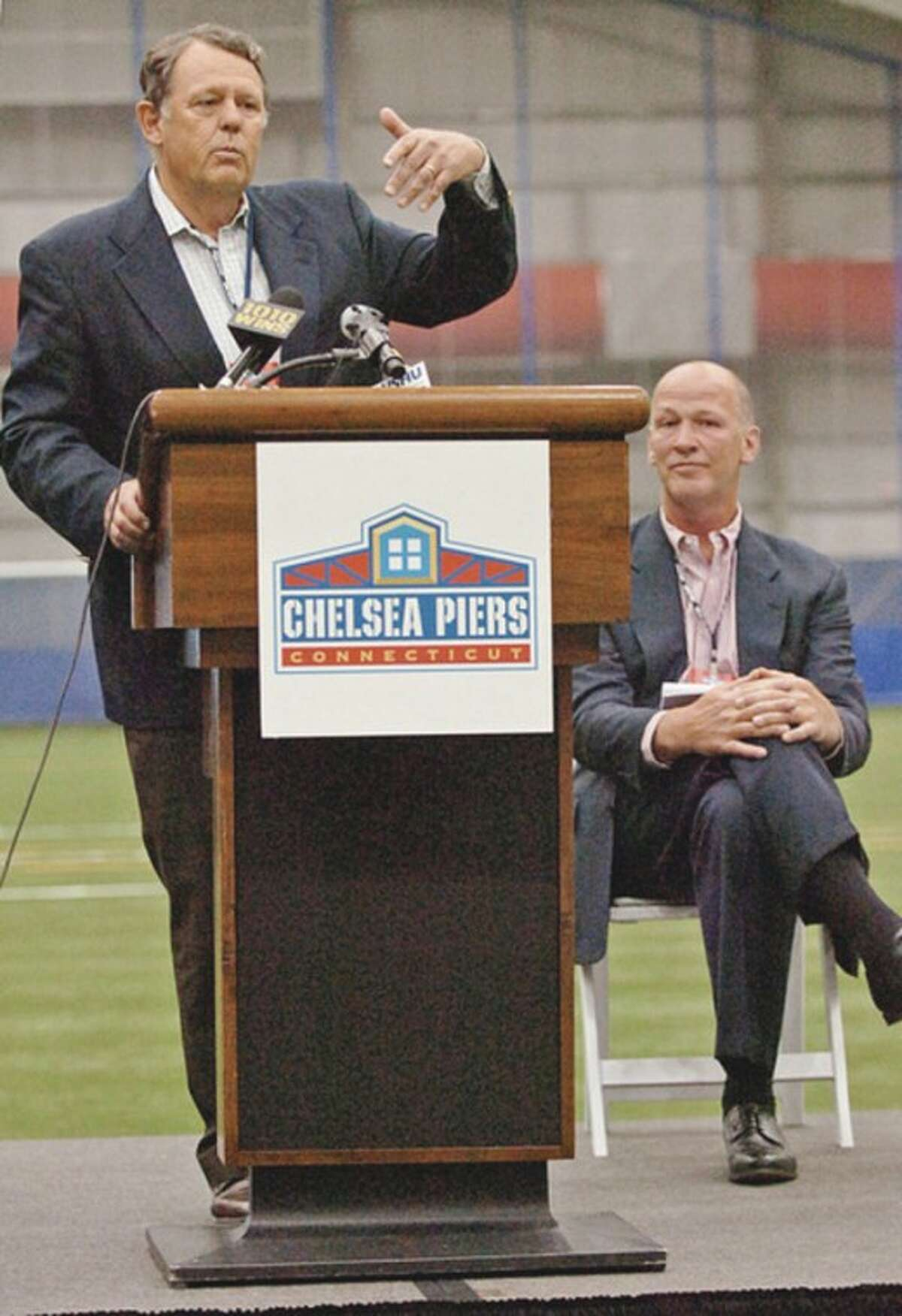 Roland W. Betts, Chairman Chelsea Piers, speaks during the grand opening ceremonies at the New Chelsea Piers CT in Stamford Thursday. Hour photo / Erik Trautmann