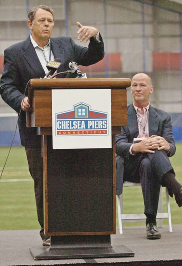 Roland W. Betts, Chairman Chelsea Piers, speaks during the grand opening ceremonies at the New Chelsea Piers CT in Stamford Thursday.Hour photo / Erik Trautmann