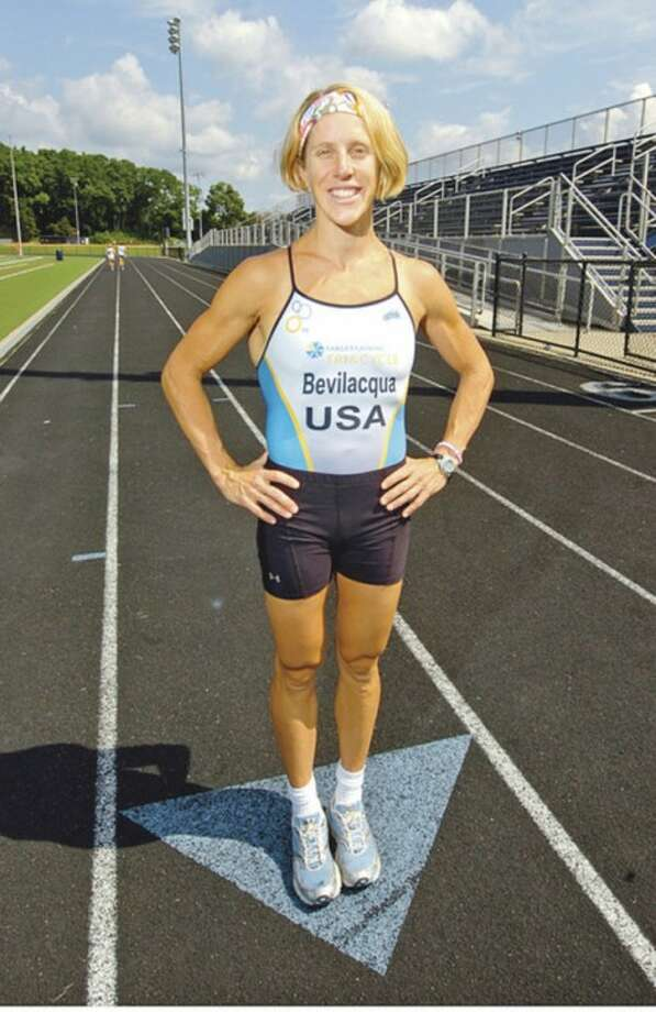 Wilton resident Amy Bevilacqua was the winner of the women's competition in the NYC Triathlon last Sunday.