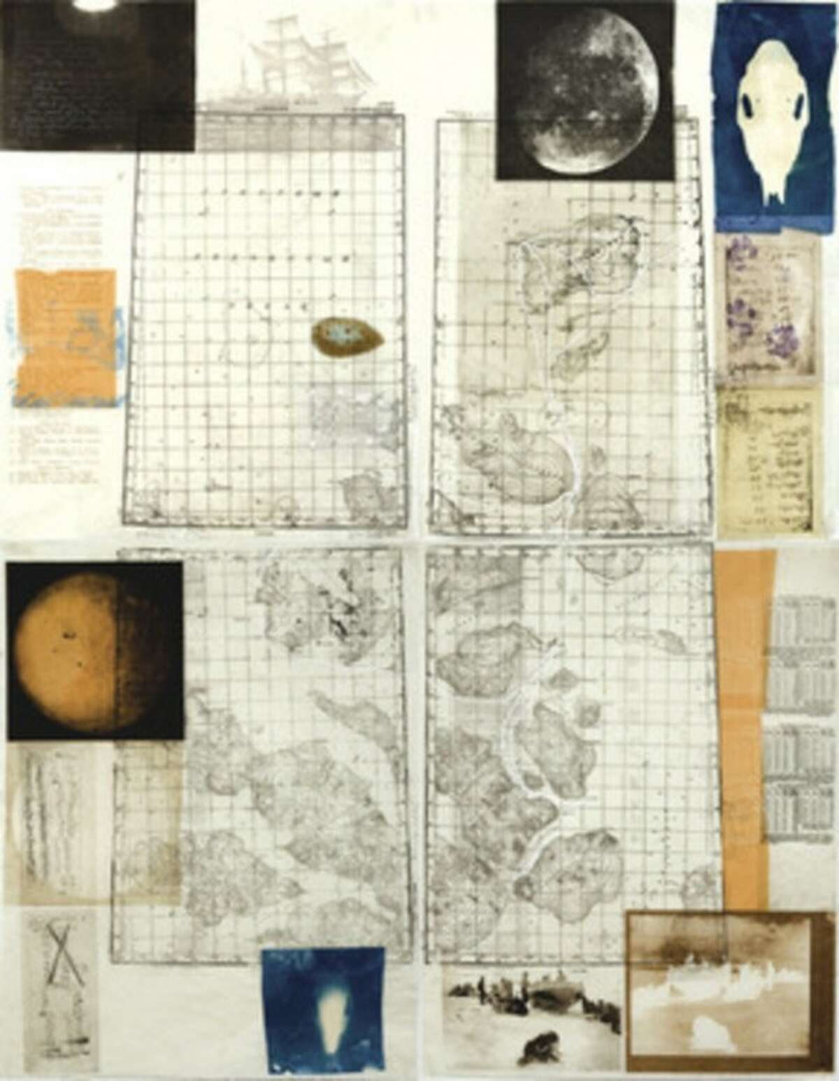 """Contributed photo On exhibit at the Stamford Museum & Nature Center is """"Nowhere on earth,"""" a 60 by 48-inch etching monoprint on Japanese paper done in 2009 by Heddi Vaughan Siebel."""