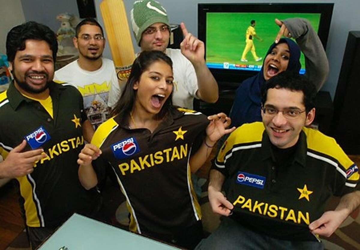 Fawad Faraz, Tawifiq Rahman, Usama Khan, Pia Rahman, Saba Syed and Unnas Khan of Stamford are die hard cricket fans. Hour photo / Erik Trautmann