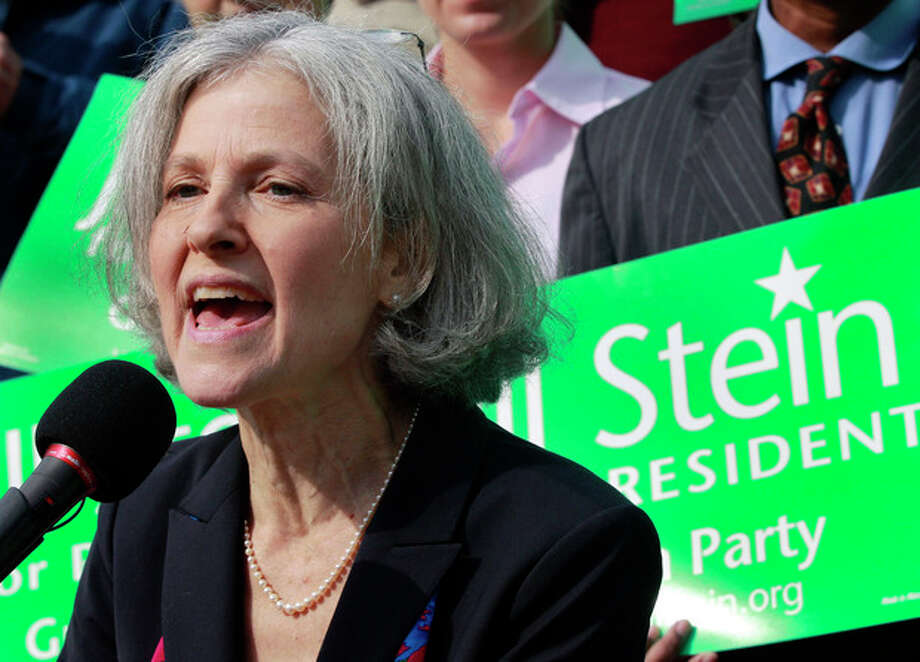 FILE - In this Oct. 24, 2011 file photo, Jill Stein of Lexington, Mass. speaks during a news conference outside the Statehouse in Boston. Stein, a Massachusetts doctor who ran against Mitt Romney for governor a decade ago is poised to challenge him again _ this time for president as the Green Party's candidate. (AP Photo/Elise Amendola) / AP