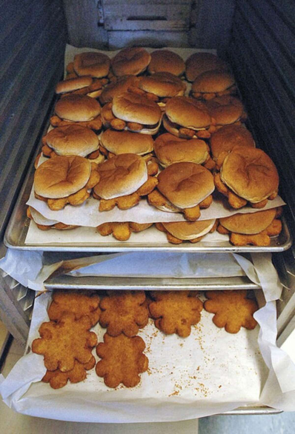 One of the hot lunch menu items at Kendall Elemnetary School is the Flower Chicken Patty.