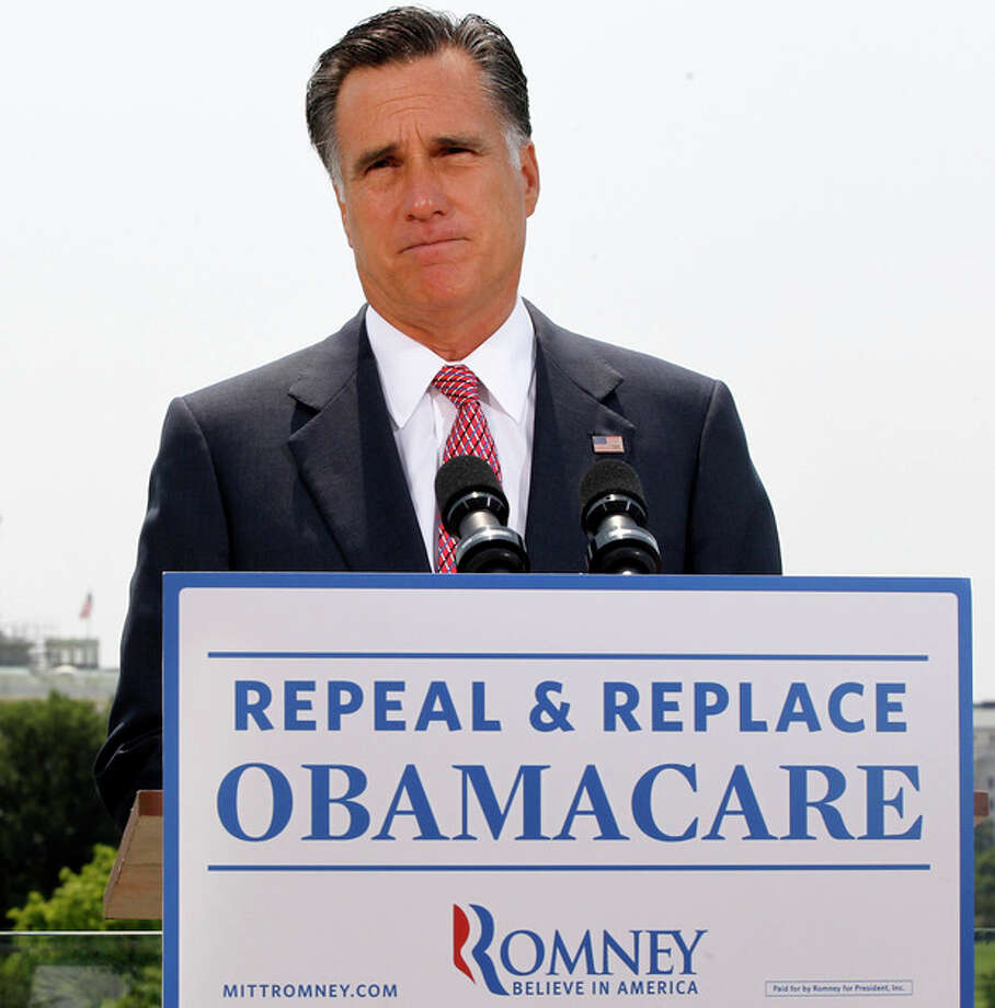 FILE - In this June 28, 2012, file photo Republican presidential candidate, former Massachusetts Gov. Mitt Romney, speaks about the Supreme Court's health care ruling in Washington. Millions of uninsured Americans may have to wait until after Election Day to find out if and how they'll be able to get coverage through President Barack Obama's health care overhaul because many governors from both parties said they haven't decided how their states will proceed on two components under their control: an expansion of Medicaid, and new insurance exchanges. (AP Photo/Charles Dharapak, File) / AP