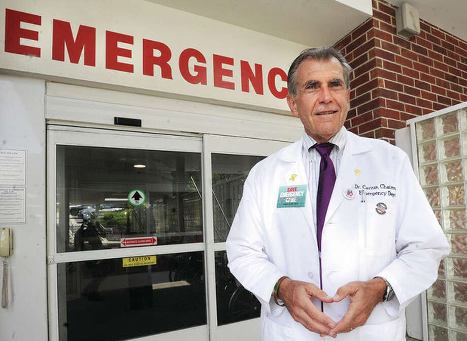 Hour photo / Matthew VinciMichael Carius, M.D., chairman of the Department of Emergency Medicine at Norwalk Hospital, says there are preventative steps that people can take to avoid being victims of heat stroke during the summer months.