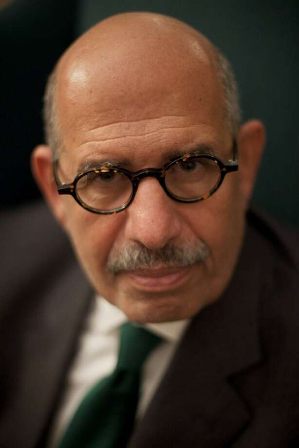FILE - In this Sunday, Dec. 4, 2011 file photo, pro-reform leader and Nobel peace laureate Mohamed ElBaradei poses for a portrait during an interview with The Associated Press in his home in Giza, on the outskirts of Cairo, Egypt. Egypt reform leader Mohamed ElBaradei said Saturday, Jan. 14, 2012 that he won't run for president to protest military rule. (AP Photo/Bernat Armangue, File)