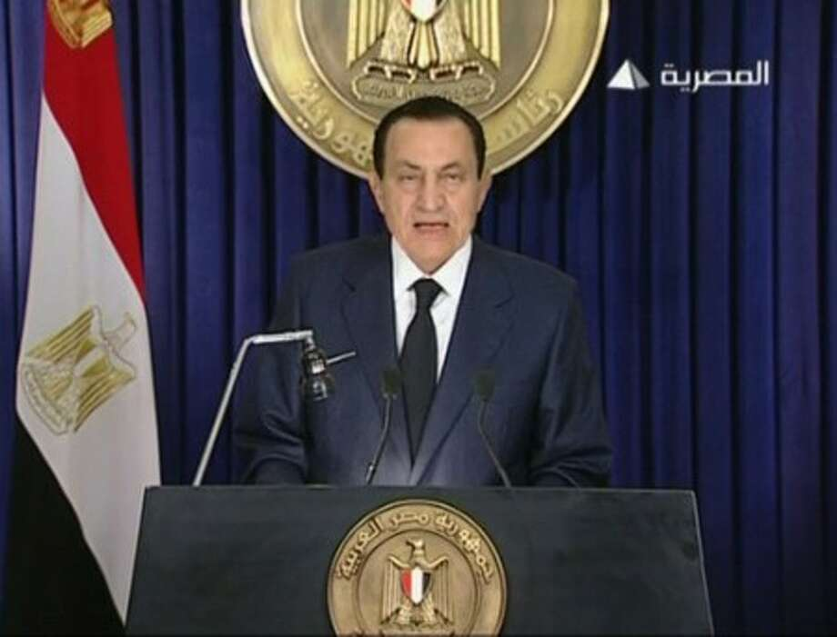 In this image from Egyptian state television aired Tuesday evening Feb 1 2011, Egyptian President Hosni Mubarak makes what has been billed as an important speech. Mubarak has faced a week of public and international pressure to step down from the role he has held for 30 years, culminating in a day when a quarter-million people turned in the largest protest yet to demand his ouster. (AP Photo/Egyptian state television via APTN) EGYPT OUT TV OUT