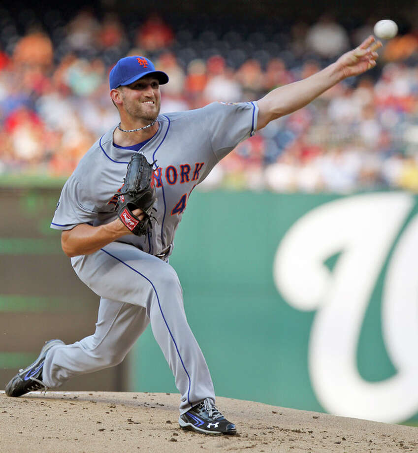 New York Mets starting pitcher Jon Niese throws during the first inning of a baseball game against the Washington Nationals on Tuesday, July 17, 2012, in Washington. (AP Photo/Alex Brandon) / AP