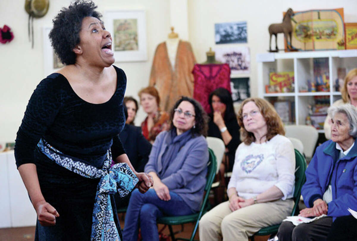 """Westport actress Kimberly Wilson portrays Sojourner Truth, an African-American abolitionist and women's rights activist, at the Westport Historical Society in Wilson's one- woman show """"Journey"""" Wednesday."""