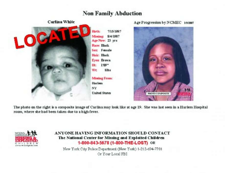 This poster released by the National Center for Missing and Exploited Children shows Carlina White as an infant, left, and what she might have looked like as an adult, right. White, who was kidnapped 23 years ago as an infant from a Harlem hospital bed and raised under a different name, was reunited with her birth mother on Saturday, Jan. 15, 2011. (AP Photo/The National Center For Missing and Exploited Children)