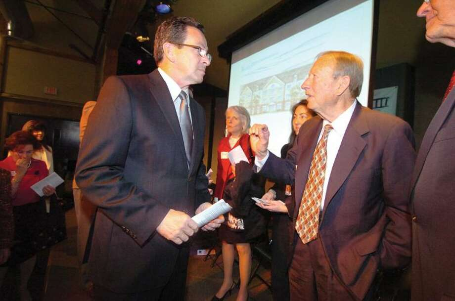 Hour Photo/ Alex von Kleydorff. Gov. Dannel Malloy talks with George Ciaccio at the groundbreaking ceremony for Wilton Commons.