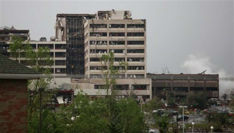 Damage to St. John''s Regional Medical Center in Joplin, Mo. is shown after it was hit by a tornado on Sunday, May 22, 2011. (AP Photo/The Wichita Eagle, Jaime Green)