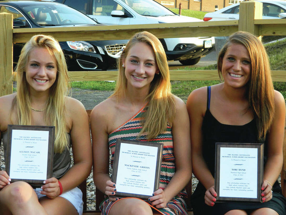 This year's winners of the Rachel Sottosanti Scholarship, from left, Allison Macari, Mackenzie Griffin and Tori Hynd. Contributed photo