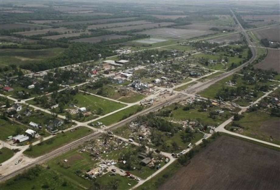 The path of destruction from Saturday evening''s tornado is viewed from Gov. Sam Brownback''s helicopter during a tour of Reading, Kan., Monday, May 23, 2011. About 200 homes were damaged in and around Reading, a town of about 250 residents, and one resident was killed. (AP Photo/Orlin Wagner)