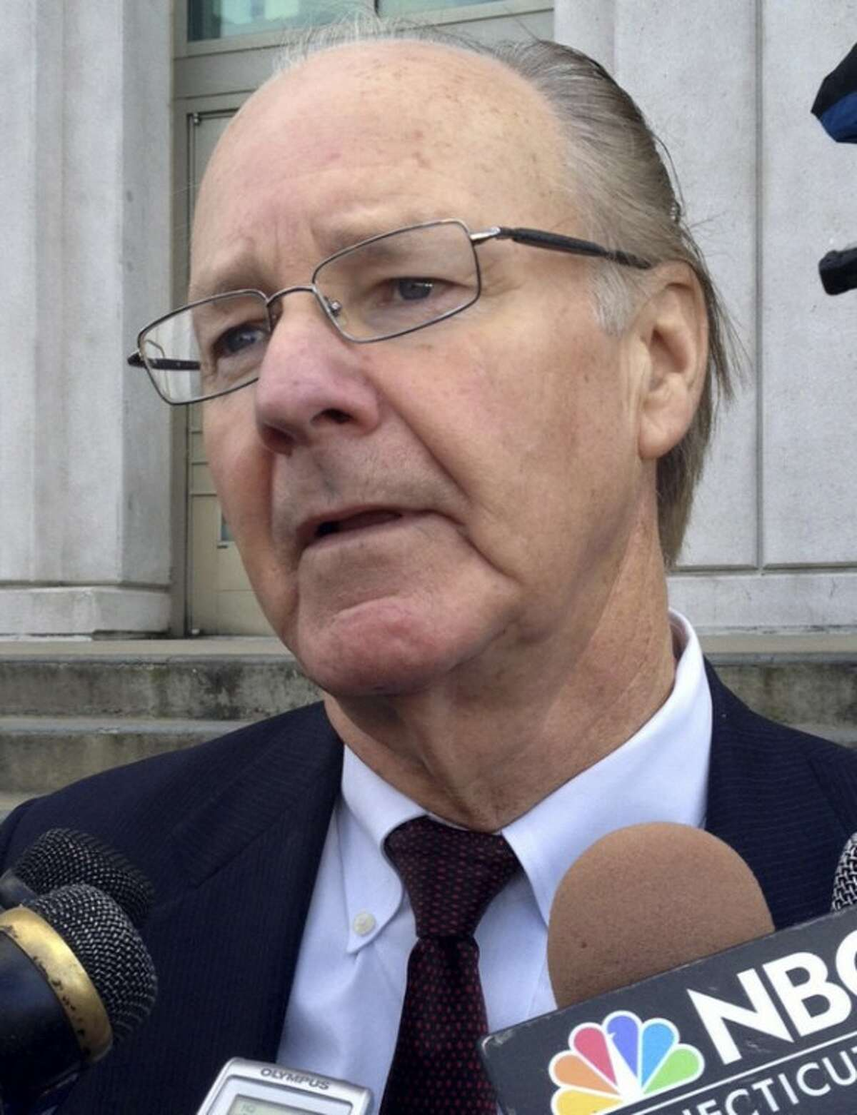 Defense attorney Richard Brown speaks to reporters about the not guilty verdict for his client Stephen Morgan, of Marblehead, Mass., outside Middlesex Superior Court, in Middletown, Conn., Friday, Dec. 16, 2011. Morgan has been found not guilty by reason of insanity in the 2009 shooting death of 21-year-old Wesleyan University student Johanna Justin-Jinich. (AP Photo/The Middletown Press, Lauren Sievert)