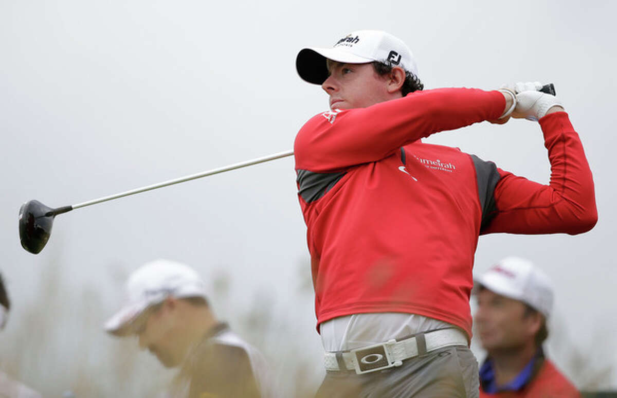Rory McIlroy of Northern Ireland plays a shot off the 11th tee at Royal Lytham & St Annes golf club during the second round of the British Open Golf Championship, Lytham St Annes, England, Friday, July 20, 2012. (AP Photo/Tim Hales)