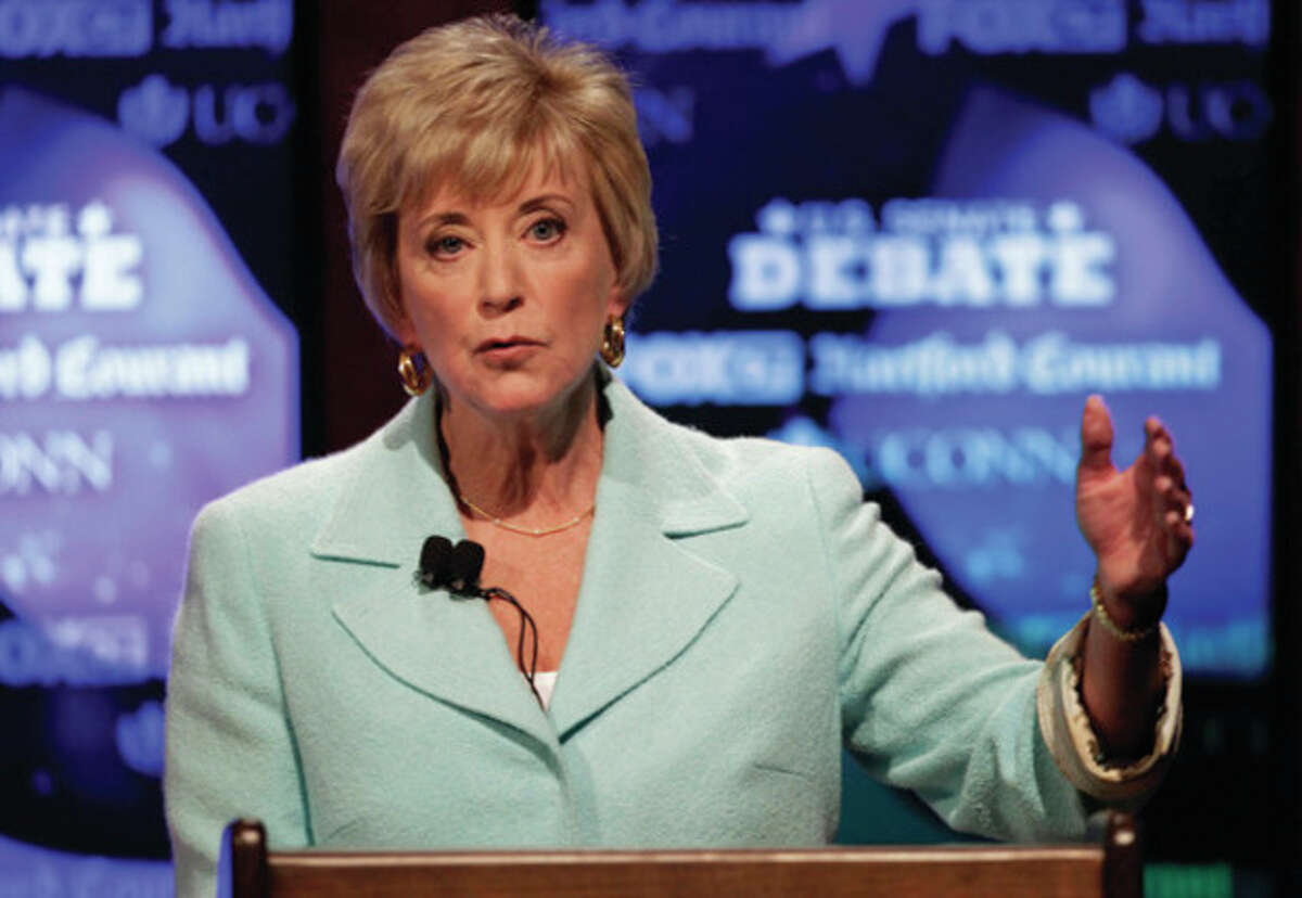 FILE - In a June 14, 2012 file photo, Connecticut Republican Senate candidate, former wrestling executive Linda McMahon gestures during her debate against her opponent, former Rep. Christopher Shays, in Storrs, Conn. McMahon is running again as an outsider for the U.S. Senate after losing her first bid two years ago. (AP Photo/Stephan Savoia, File)