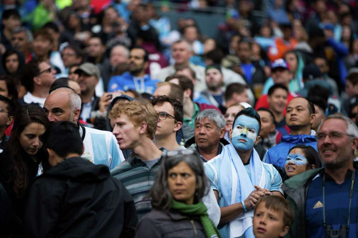 CenturyLink field is filled with majorly Argentina fans before the Copa America Centenario game between Argentina and Bolivia, Tuesday, June 14, 2016.