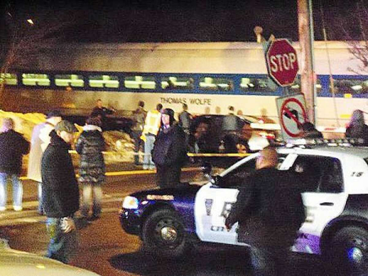 Contributed photo from @thehournews Twitter follower @alliemarie_AK47 ---- A Metro-North train struck a vehicle late Wednesday evening.