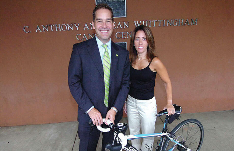 Hour photo / Alex von KleydorffJay DesMartea and Juliet Harker for The Whiitngham Cancer Center will ride in the CT Challenge. / 2012 The Hour Newspapers