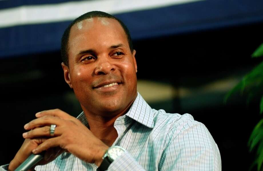 National Baseball Hall of Fame inductee Barry Larkin speaks at an inductee press conference at the Clark Sports Center in Cooperstown, N.Y., Saturday, July 21, 2012. Larkin will be inducted into baseball's Hall of Fame on Sunday. (AP photos/Heather Ainsworth) / FR120665 AP