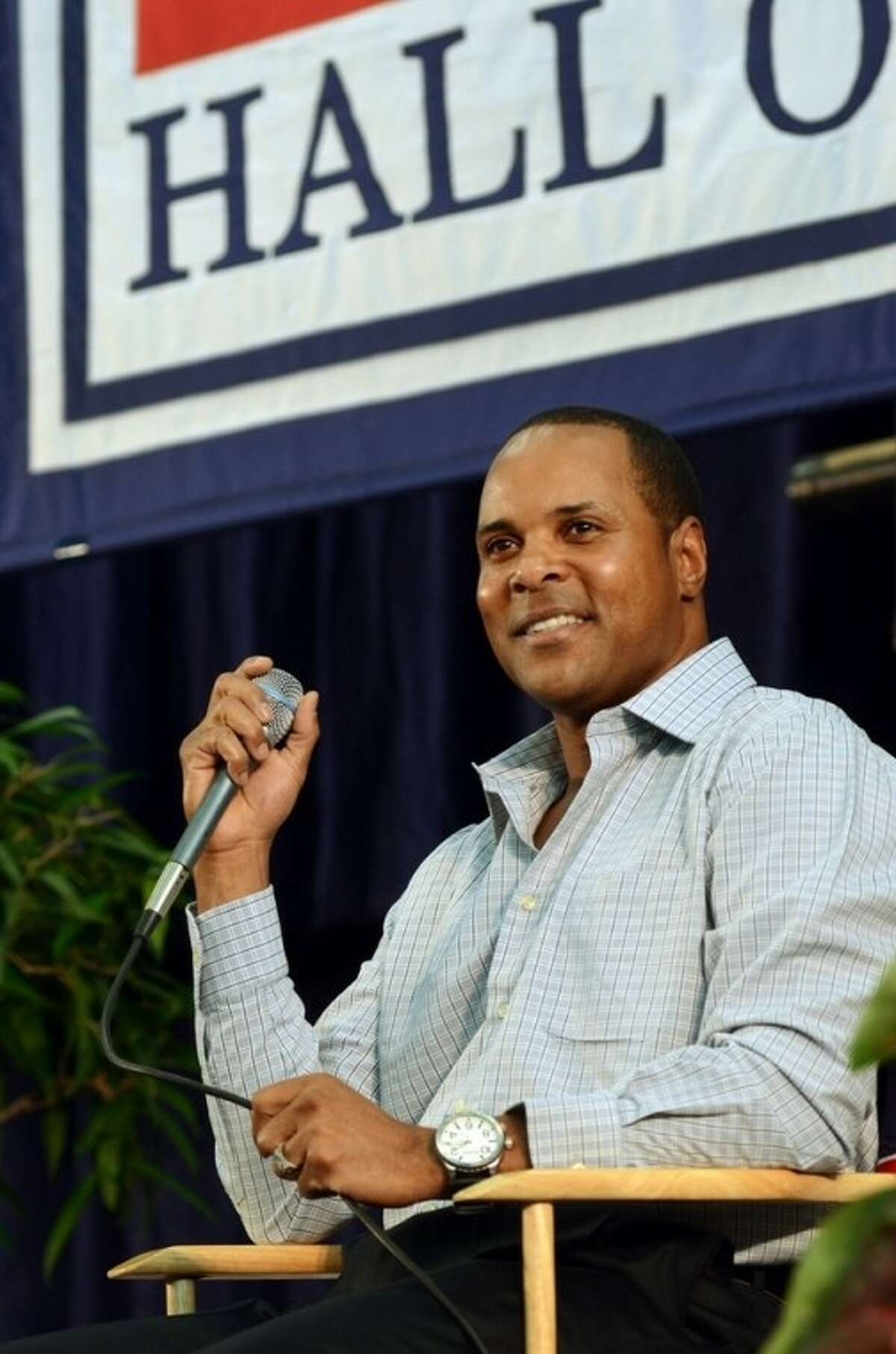 National Baseball Hall of Fame inductee Barry Larkin speaks at an inductee press conference at the Clark Sports Center in Cooperstown, N.Y., Saturday, July 21, 2012. Larkin will be inducted into baseball's Hall of Fame on Sunday. (AP photos/Heather Ainsworth)