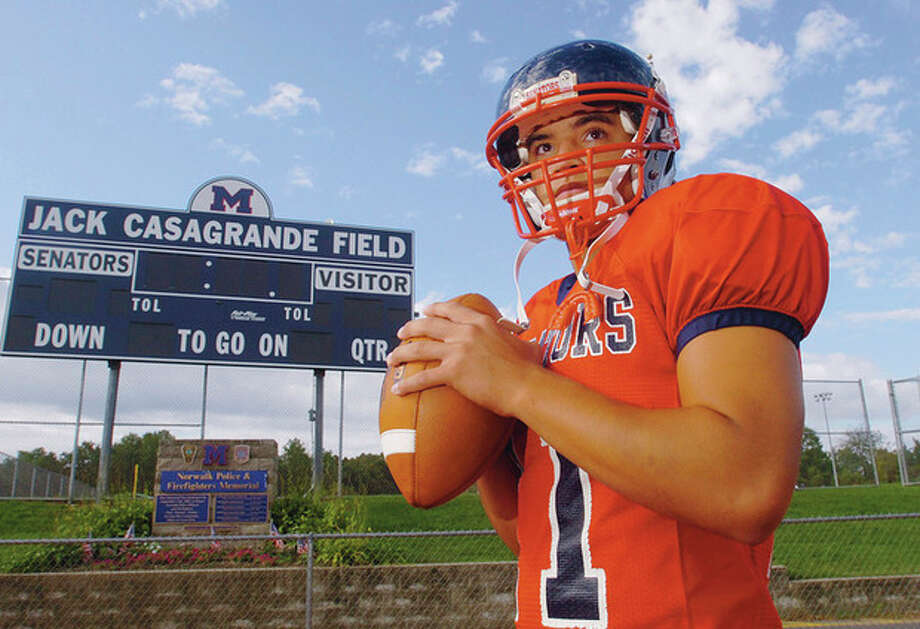 Hour photo/Erik Trautmann Brien McMahon High School quarterback Damien Vega is back for his third year as the Senators starting quarterback, amidst high hopes for the 2011 football season. / (C)2011, The Hour Newspapers, all rights reserved