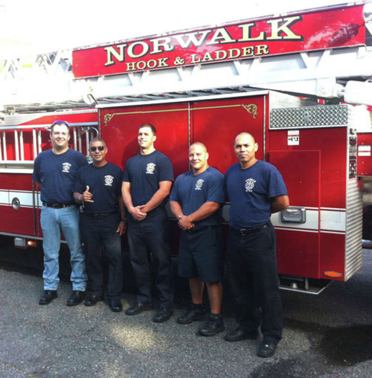 Contributed photo Firefighters competing in World Police and Fire Games in New York City are, from left, Lt. Chris Riccio, Hector Ramirez, Brandon Adams, Dale Roos, George Baez.