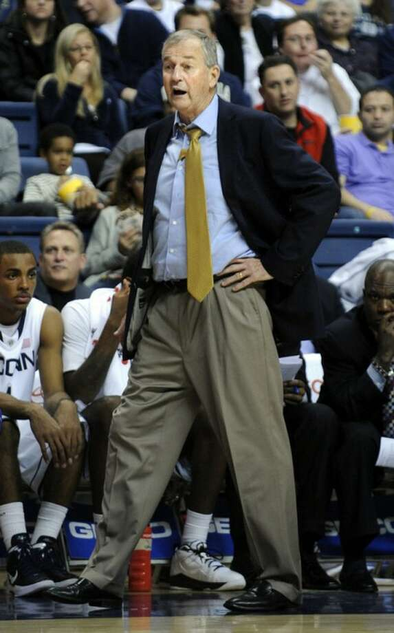 Connecticut coach Jim Calhoun reacts during the second half of his team's 70-57 victory over Columbia during their NCAA college basketball game in Storrs, Conn., on Friday, Nov. 11, 2011. (AP Photo/Fred Beckham)