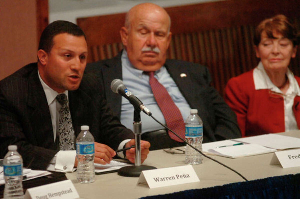 At large candidates for the Common Council Warren Pena Fred Bondai and Tepper debate at the Norwalk City Hall Community Room Thursday night. Hour photo / Erik Trautmann