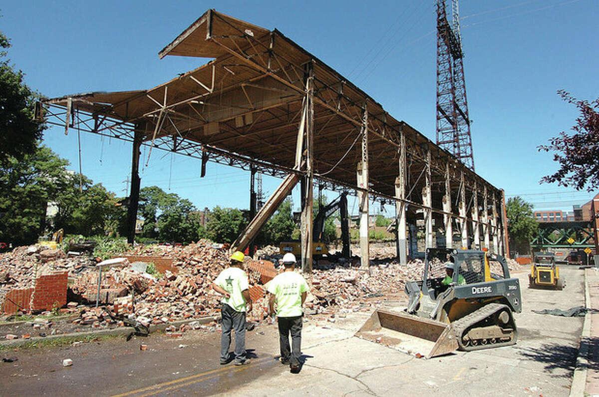 Hour photo / Alex von Kleydorff The Norwalk Co. building is demolished this week to make way for redevelopment.