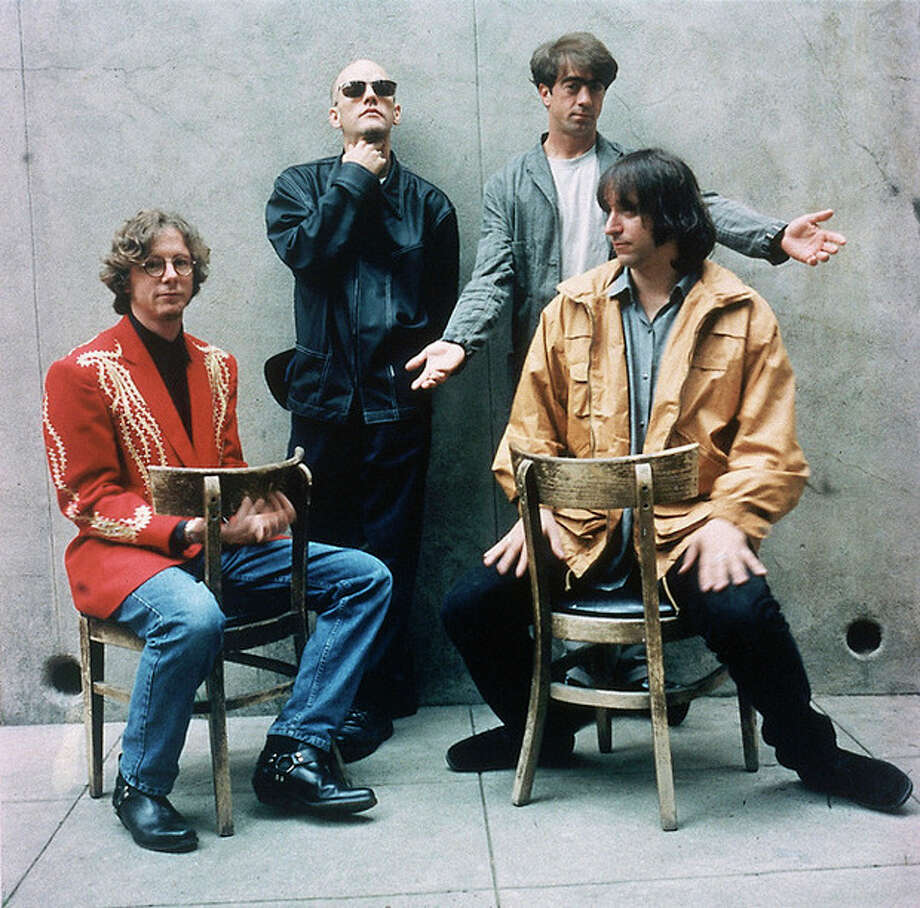 "AP photo / Warner Bros. In this 1994 file photo, rock band R.E.M., from left, Mike Mills, Michael Stipe, Bill Berry, and Peter Buck, are shown when they released their new album ""Monster."" The band announced Wednesday that they are breaking up. / AP1994"
