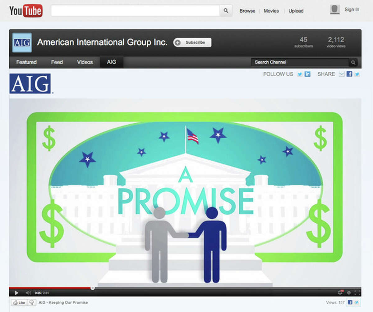 This image made from the YouTube website on Thursday, July 26, 2012 shows a frame from a video posted by the American International Group insurance company proclaiming that AIG is proud to be an American corporation. AIG received the biggest government bailout of any company during the 2008 financial crisis, totaling $182.5 billion. It became a symbol for greed and excessive risk-taking on Wall Street and a touchstone for public anger soon thereafter. (AP Photo)