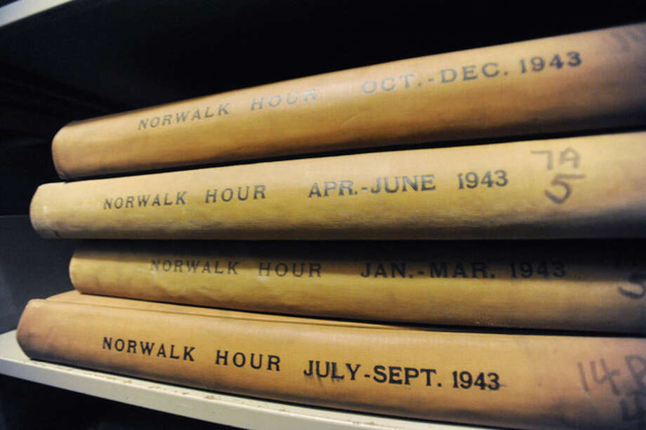 Hour photo /Matthew VinciBound copies of The Hour from October 1936 - March 1956 are kept at the Norwalk Museum.
