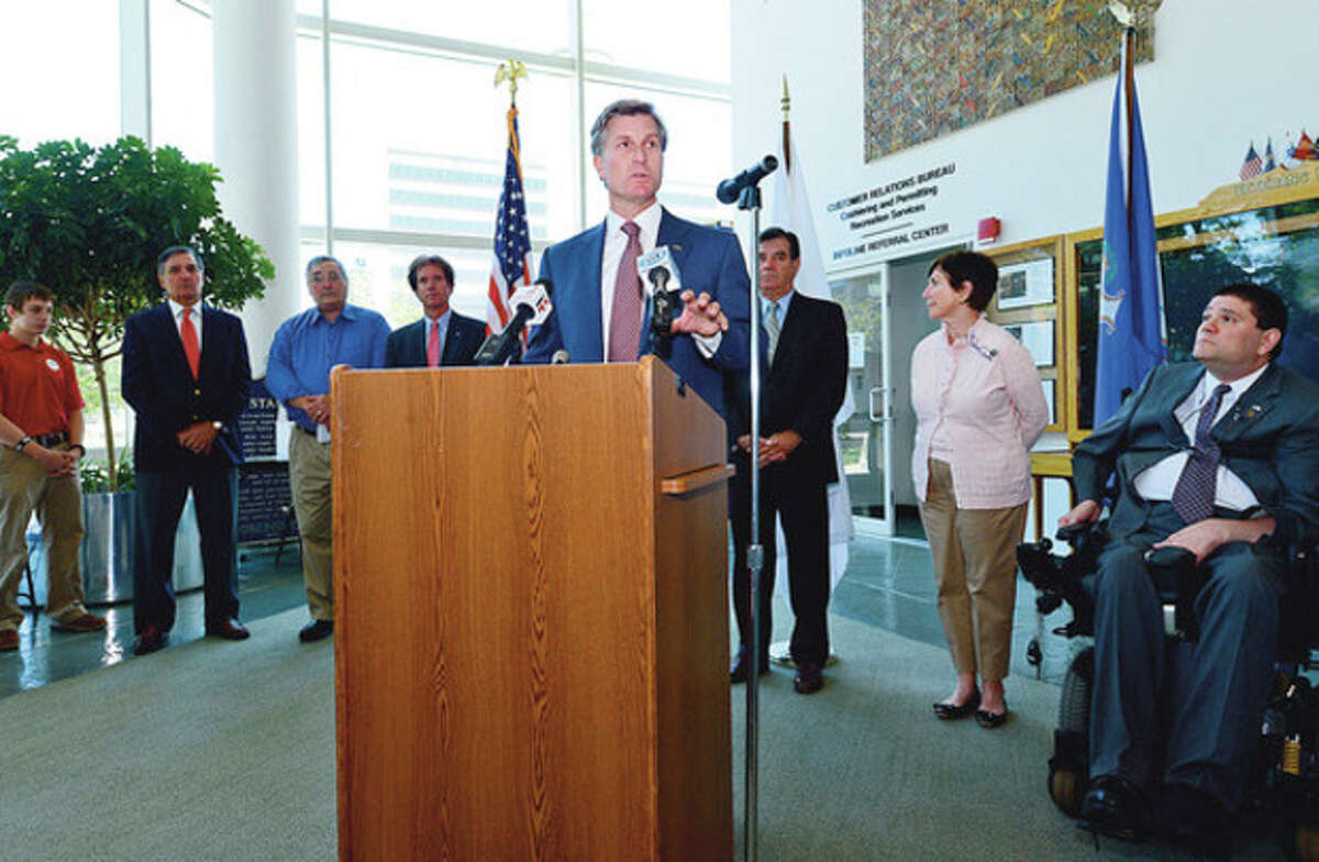 Republican candidate for United States Congress Steve Obsitnik holds a press conference with Stamford Mayor Mike Pavia, Former Mayor Stan Esposito, Former Lt. Governor Mike Fedele, State Senator Scott Frantz, State Representative Livvy Floren, State Representative Mike Molgano, Founder of Soldier Socks Chris Meek and several local candidates to support of Obsitnik's candidacy at the Stamford Government Center Wednesday. Hour photo / Erik Trautmann