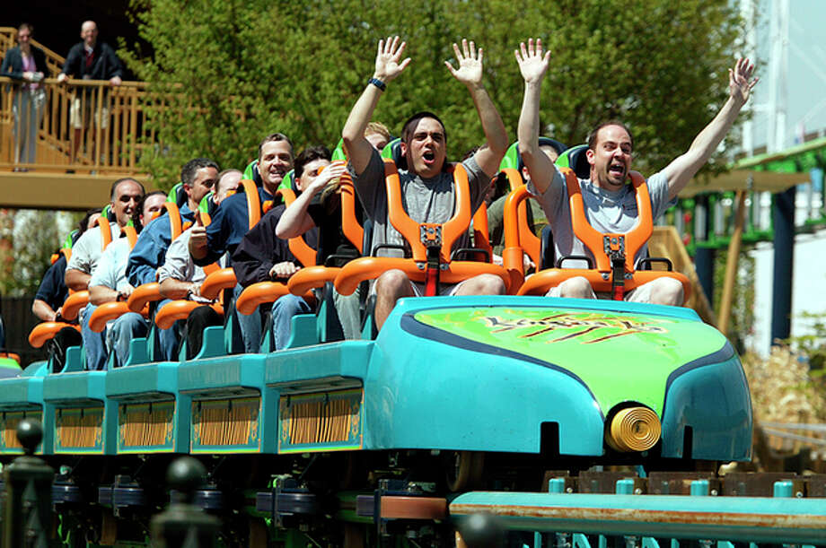 FILE - In this May 19, 2005, file photograph, people cheer at the end of a ride on Six Flags Great Adventure's roller coaster, Kingda Ka, in Jackson, N.J. A boy is recovering after he was hit in the face by a bird Thursday, July 26, 2012, while riding the roller coaster at Six Flags Great Adventure in New Jersey. (AP Photo/Tim Larsen, File) / AP