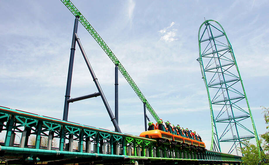 FILE - In this May 19, 2005, file photograph, Six Flags Great Adventure's roller coaster, Kingda Ka, sends people flying skywards in Jackson, N.J. A boy is recovering after he was hit in the face by a bird Thursday, July 26, 2012, while riding the roller coaster at Six Flags Great Adventure in New Jersey. (AP Photo/Tim Larsen, File) / AP