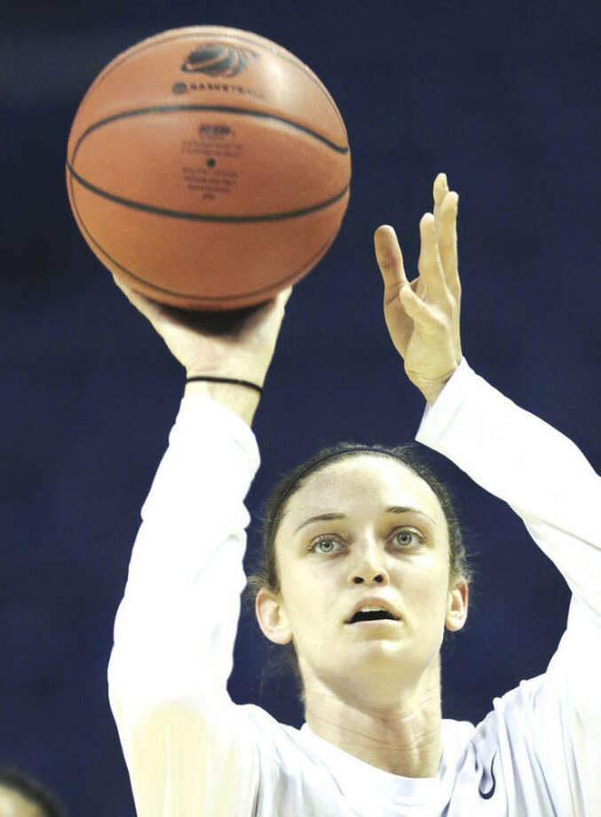 Connecticut guard Kelly Faris shoots during practice for a women's regional semifinal game in the NCAA college basketball tournament in Bridgeport, Conn., Friday, March 29, 2013. Connecticut plays Maryland Saturday. (AP Photo/Charles Krupa)