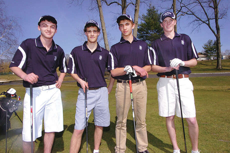 Photo by Alex von KleydorffFour solid starters -- from left, returnees Scott Caggainello, Alex Birch and Sam Marsh, and transfer John Collins -- are a big reason the Wilton High boys golf team is poised for a successful season on the area links. They hope to build on a 12-6 season of a year ago. / 2013 The Hour Newspapers