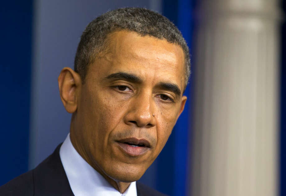 President Barack Obama speaks in the James Brady Press Briefing Room at the White House in Washington, Monday, April 15, 2013, following the explosions at the Boston Marathon. (AP Photo/Manuel Balce Ceneta)