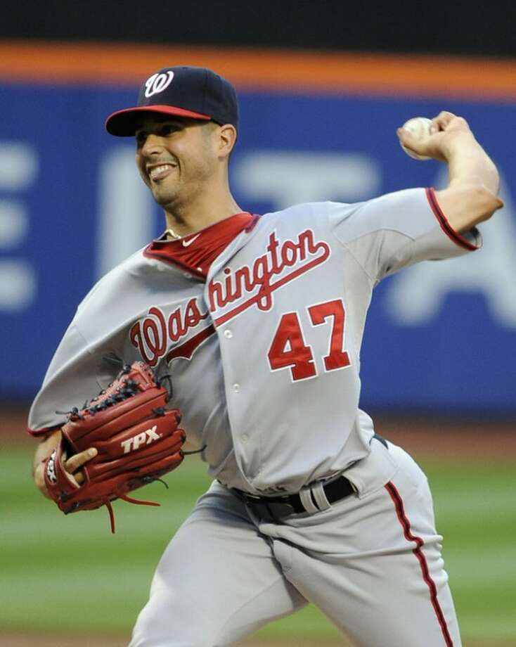 Washington Nationals starting pitcher Gio Gonzalez (47) throws against the New York Mets in the first inning of a baseball game, Tuesday, July 24, 2012, at Citi Field in New York. (AP Photo/Kathy Kmonicek)