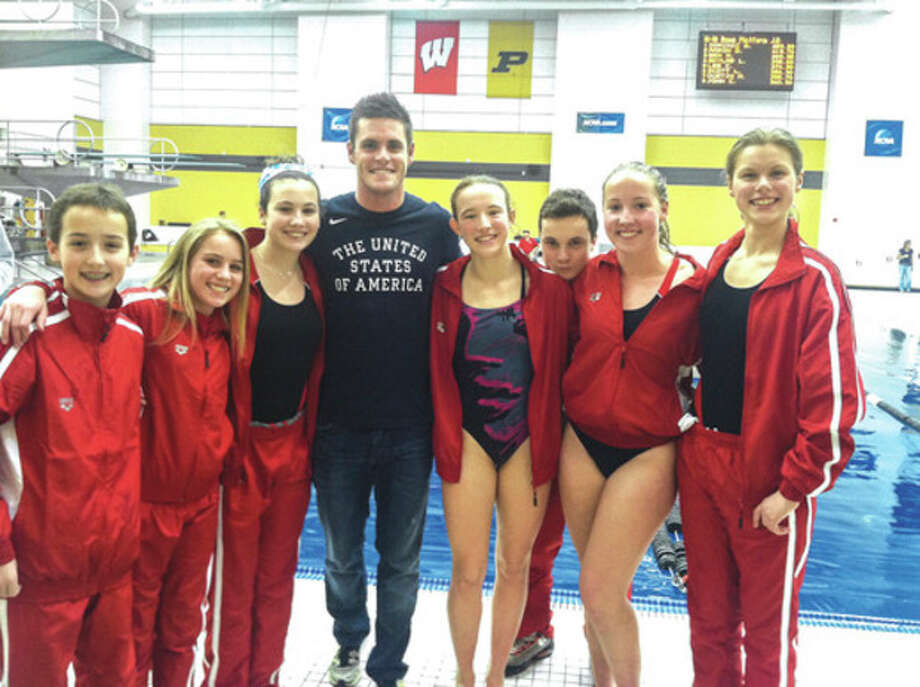 Contributed photoThe New Canaan-based Whirlwind Dive Team participated in thr Junior East Nationals last weekend. One of the highlights was meeting Olympic gold medalist David Boudia. Spending together are, from left, Timmy Luz, Anne Farley, Rachel Burston, Boudia, Kylie Towbin, Sean Burston, Kirsten Parkinson, and Genevieve Angerame