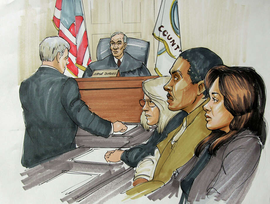 In this courtroom sketch, William Balfour, second from right, is flanked by attorney Amy Thompson, right, and another defense team member, as they watch lead prosecutor James McKay speak before Cook County Circuit Court Judge Charles Burns at Balfour's sentencing in Chicago, Tuesday, July 24, 2012. Balfour, convicted in the October 2008 shooting deaths of singer and actress Jennifer Hudson's mother, brother and 7-year-old nephew, was sentenced to life in prison. (AP Photo/Tom Gianni) / AP