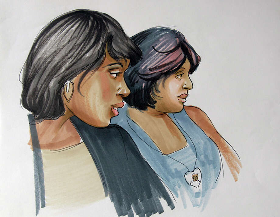 In this courtroom sketch, singer and actress Jennifer Hudson, left, sits with her sister, Julia Hudson, at court in Chicago, Tuesday, July 24, 2012, where William Balfour, the man convicted in the October 2008 shooting deaths of Hudson's 57-year-old mother Darnell Donerson, her 29-year-old brother Jason Hudson and her 7-year-old nephew Julian King, was sentenced to life in prison. (AP Photo/Tom Gianni) / AP