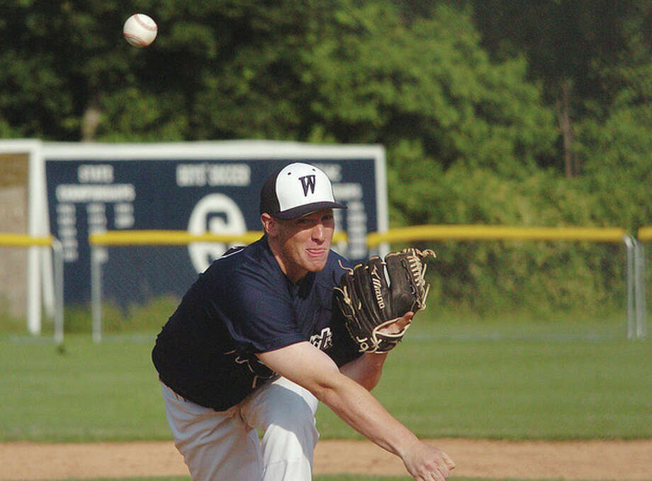 Hour photo/Matthew Vinci Westport Legion starting pitcher Alex Bauer delivers a pitch during MondayÕs game against Stamford. Stamford posted a 9-2 victory. / (C)2011, The Hour Newspapers, all rights reserved