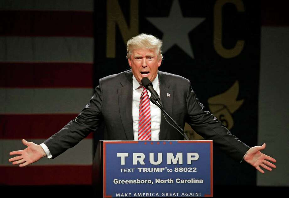Republican presidential candidate Donald Trump speaks during a campaign rally at the Greensboro Coliseum in Greensboro, N.C., Tuesday, June 14, 2016. Photo: Chuck Burton, AP / Copyright 2016 The Associated Press. All rights reserved. This material may not be published, broadcast, rewritten or redistribu